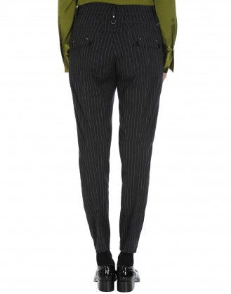IN-MOTION: Tapered leg pant in grey and white pinstripe