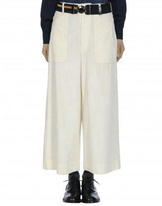 BELL-BOY: Pantaloni a culottes ampi in velluto a coste avorio