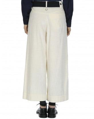 BELL-BOY: Wide leg culottes in Ivory corduroy