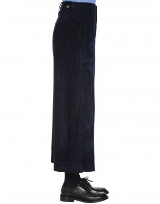 BELL-BOY: Wide leg culottes in navy corduroy