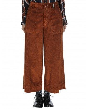 BELL-BOY: Wide leg culottes in burnt orange corduroy