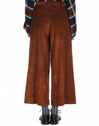 BELL-BOY: Pantaloni a culottes ampi in velluto a coste arancione