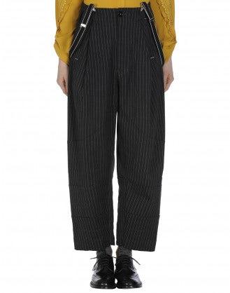 INTENT: Pantaloni gessati fondo nero con bretelle