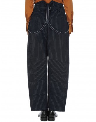 INTENT: Pinstripe pant with braces