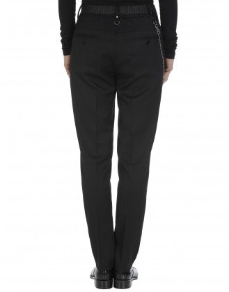 MARILYN: Slim fit flat front pant in black