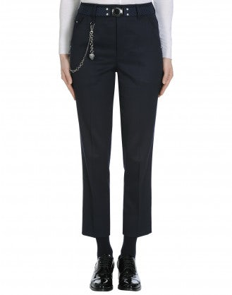 MARILYN: Slim fit flat front pant in navy
