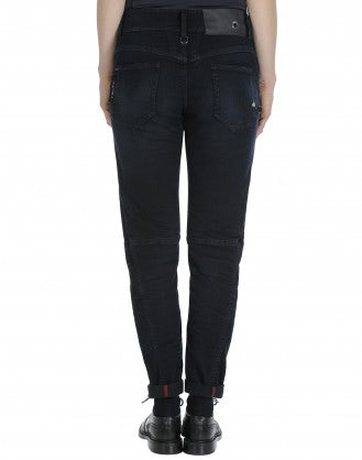 "HAVOC: Jeans ""midnight blue"" con gamba curva"