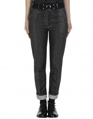 "MARILYN: Dark grey ""leather block"" straight leg jeans"