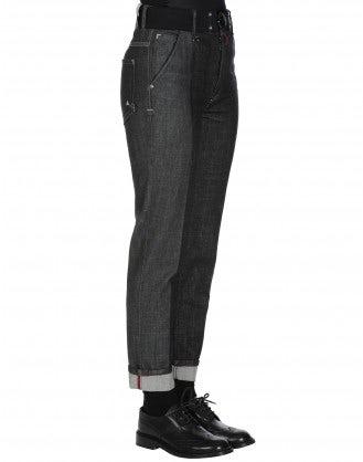 """MARILYN: Jeans a gamba dritta con trattamento """"leather block"""""""