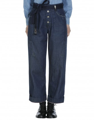 LIBERATE: Pantaloni in denim blu con cintura annodabile