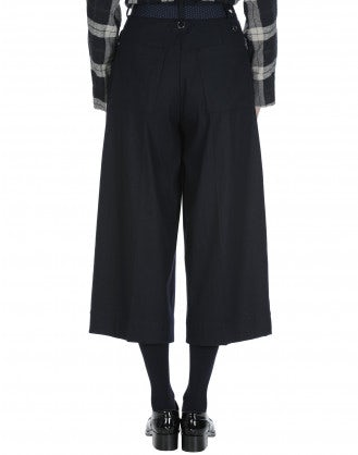 JUSTIFY: Navy stripe pant with wide leg and side zip