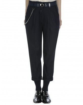 COURAGE: Navy cropped pants with turn-up cuff