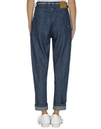 CIRCUIT: Tapered leg jeans with cord belt