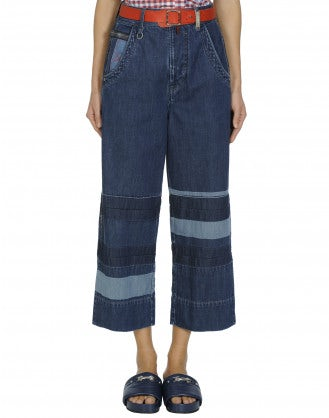 QUALIFY: Multi shade & stripe leg jeans
