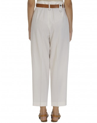 BRISK: Straight leg pant in cream virgin wool