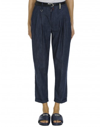 COURAGE: Mid blue denim cropped & pleated pants