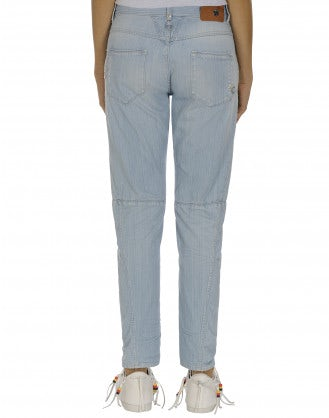 HAVOC: Pale blue denim shaped leg jeans