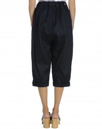 VIGOUR: Drawstring pant in navy twill