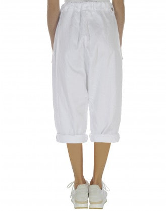 VIGOUR: Drawstring pant in white twill