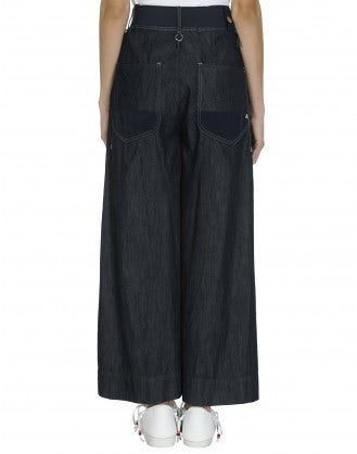 TANGRAM: Navy denim and cupro patchwork flares