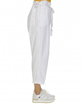IMPEL: Double layer white poplin pants