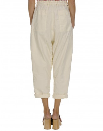 IMPEL: Double layer cream poplin pants