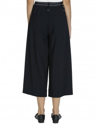 JUSTIFY: Navy pant with wide leg and side zip