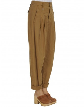 SKITTISH: Caramel denim cropped & pleated pants