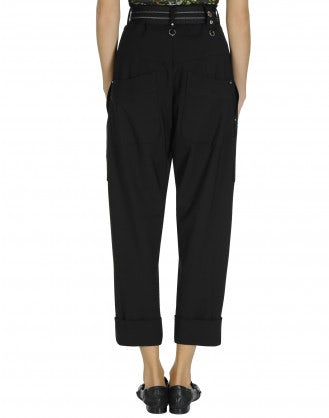 EVADE: High waisted pant in black blue virgin wool