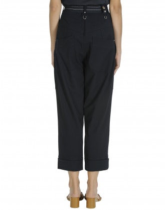 EVADE: High waisted pant in navy blue virgin wool
