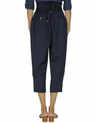 FLUENT: Wrap over pinstripe pants