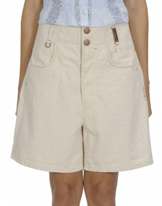 COMPEL: Light beige high waisted shorts