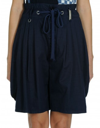 SCANTY: Navy cotton and linen 4 pleats shorts