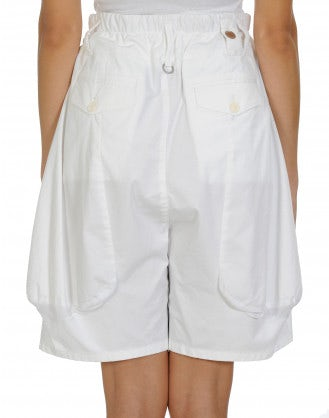 SCANTY: White cotton and linen 4 pleats shorts