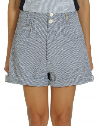 LEVITY: Blue gingham shorts