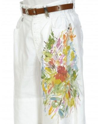 RAFT: White hand-painted shorts