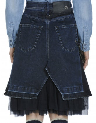 "GALORE: Re-made"" denim skirt with tulle underskirt"