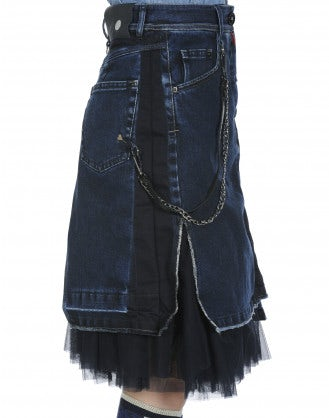 "GALORE: Gonna ""re-made"" in denim con sottogonna in tulle"