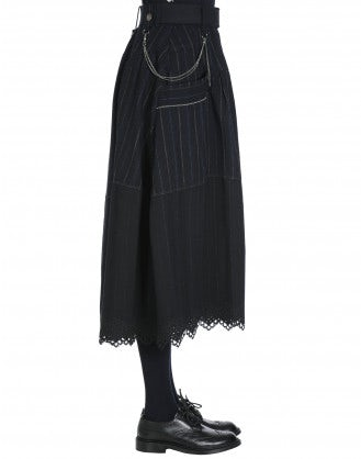 WAKEFUL: Button through herringbone and pinstripe skirt with embroidered hem