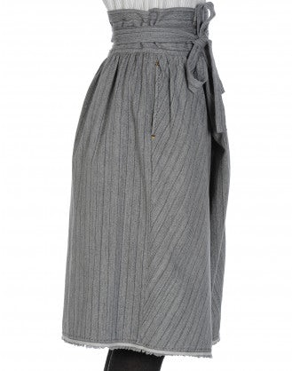 CROSSOVER: High waisted wrap-over skirt-pant in grey stripe cotton