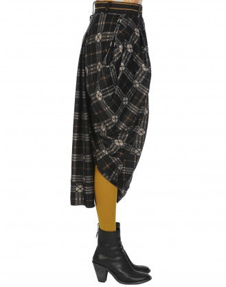 PROWESS: Draped and wrapped check skirt