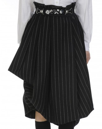 OUTSET: High waist draped skirt in black and white pinstripe wool blend
