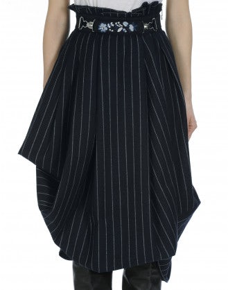 OUTSET: High waist draped skirt in navy and white pinstripe wool blend