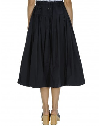 MAYHEM: Full navy poplin skirt