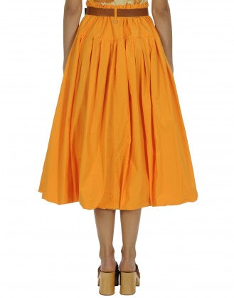 MAYHEM: Full orange poplin skirt