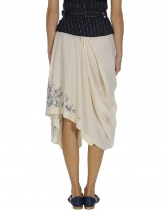 LEGACY: Pinstripe basque on print skirt