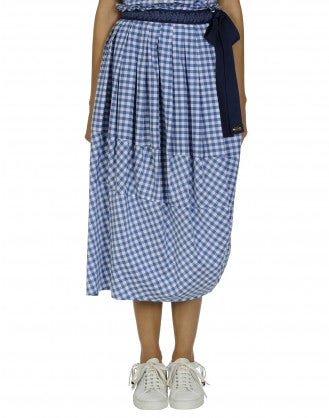 REFINE: Blue gingham skirt