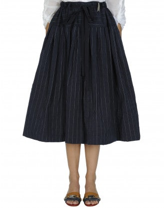 MULTITUDE: Dropped waist full skirt with stripe