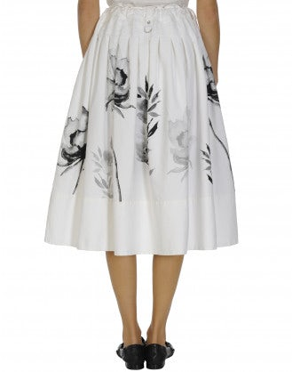 DIZZY: White cotton skirt with black floral