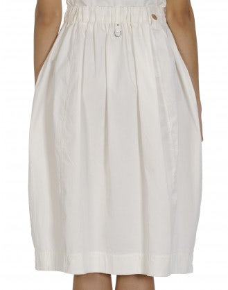 FERVOUR: Cream cotton drill skirt